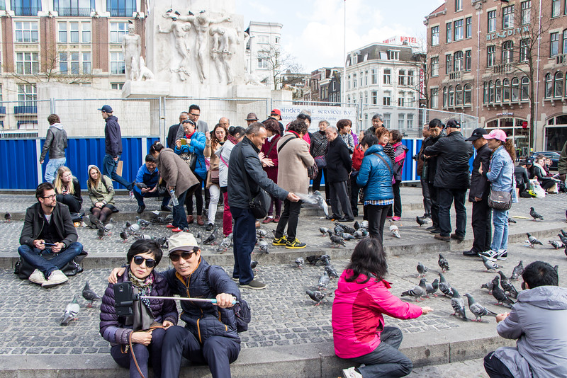 Selfie stick at the Nationaal Monument