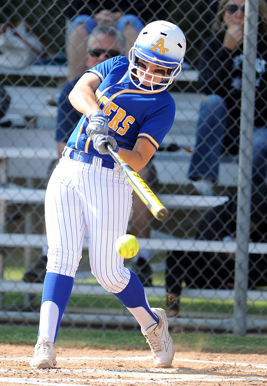 . Bishop Amat\'s Eryn Sustayta in the first inning of a prep softball game against Santiago at Bishop Amat High School on Wednesday, March 27, 2013 in La Puente, Calif. Bishop Amat won 5-3.  (Keith Birmingham Pasadena Star-News)