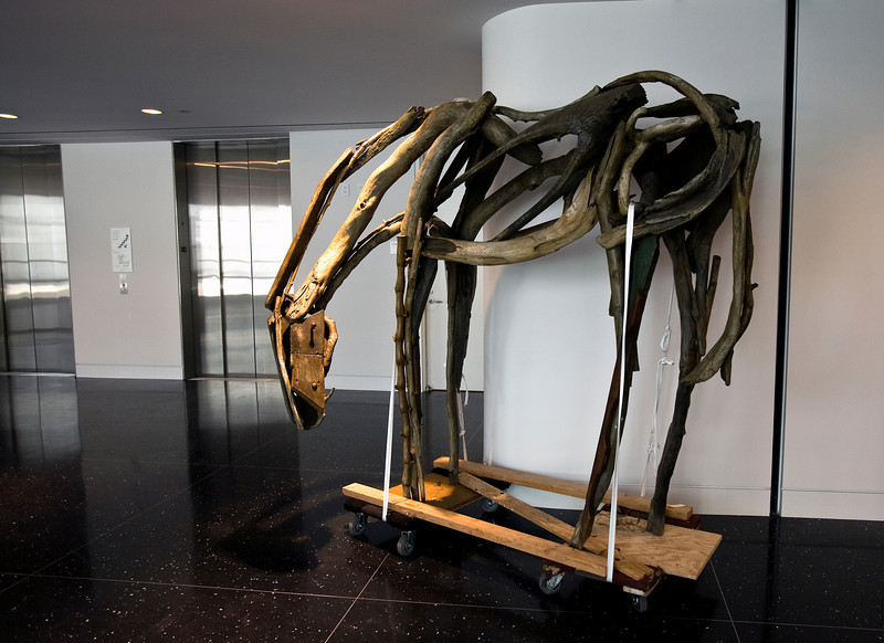 A driftwood sculpture awaits placement in the lobby of the new Crocker Art Museum.