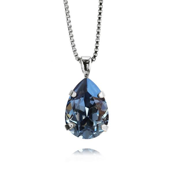 Mini Drop Necklace / Denim Blue / Rhodium