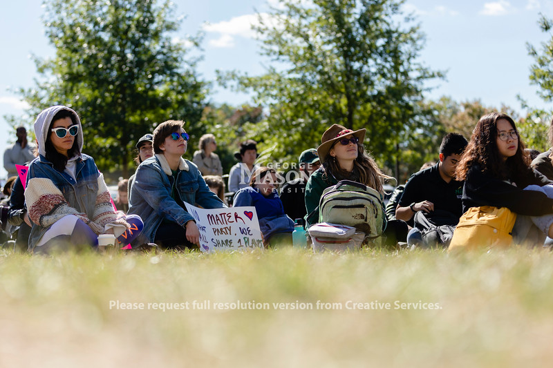 People listen to speakers during the Fridays for Future rally at George Mason University. Photo by Lathan Goumas/Office of Communications and Marketing   Photo Taken:Friday, October 18, 2019