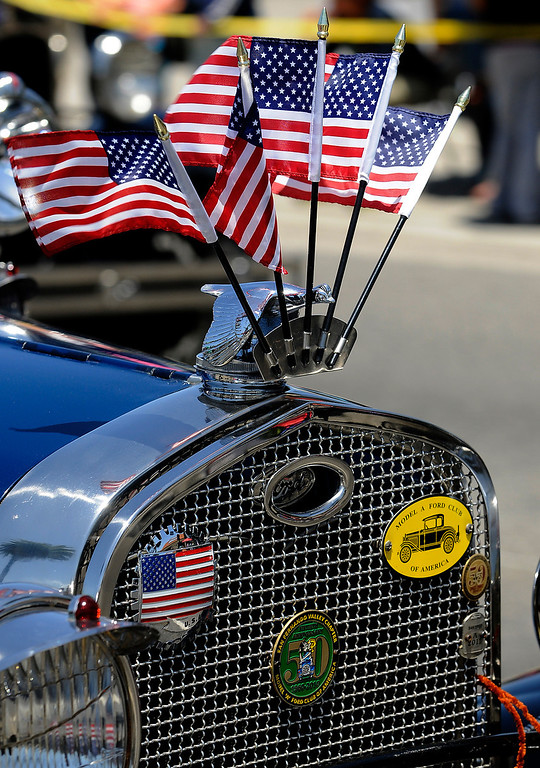 . The grill of this 1931 Ford was decked out with American flags during the Annual Canoga Park Memorial Day Parade marched down Sherman Way from Owensmouth east to Mason Street where it concluded at the First Baptist Church. Canoga park, CA 5/27/2013(John McCoy/LA Daily News)