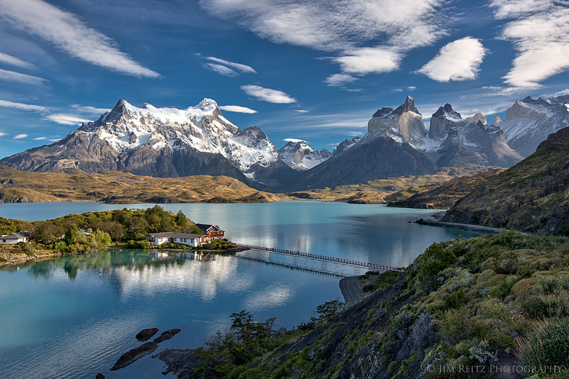 The unbelievable location and view of the hotel we stayed in - Hosteria Pehoe, in Torres del Paine national park in Chile.