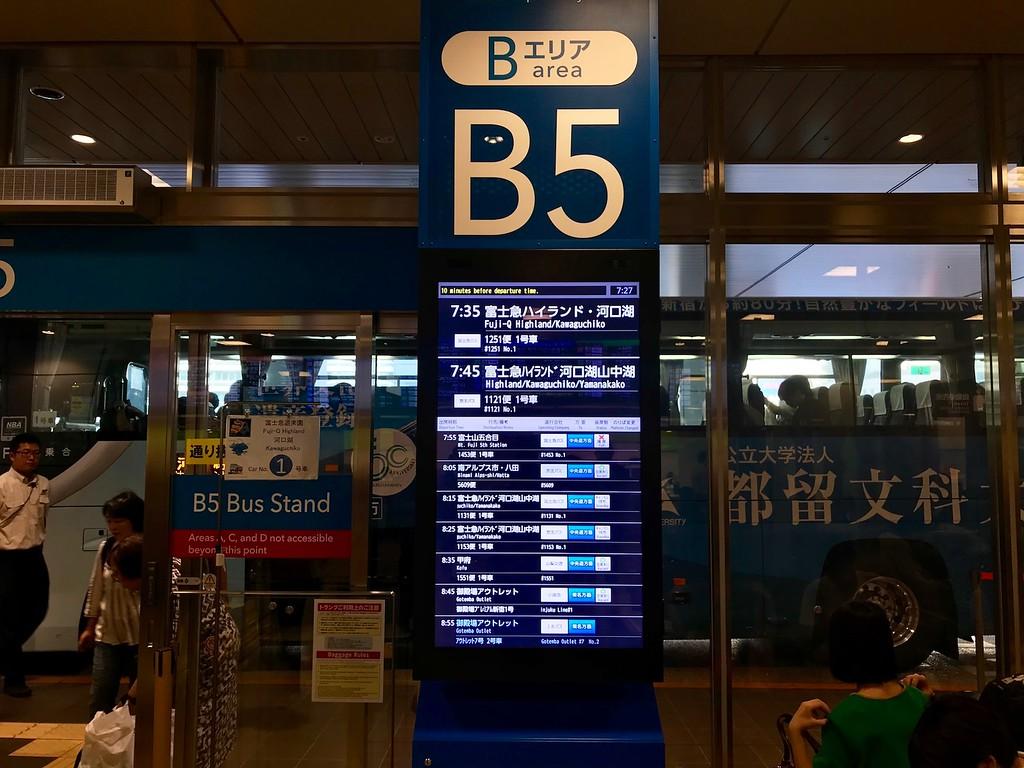 Bus stop B5 on the 4th floor of Shinjuku Bus Terminal.