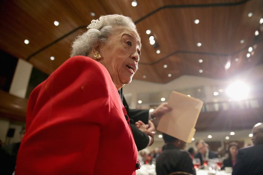 . WASHINGTON, DC - MAY 16:  Cecilia Suyat Marshall walks to the stage to deliver remarks while being celebrated by the NAACP Legal Defense Fund\'s during the organization\'s luncheon to commemorate the Supreme Court\'s 1954 Brown v. Board of Education decision at the National Press Club May 16, 2014 in Washington, DC. A civil rights activist, Cecilia Marshall is the widow of former Supreme Court Chief Justice Thurgood Marshall.  (Photo by Chip Somodevilla/Getty Images)