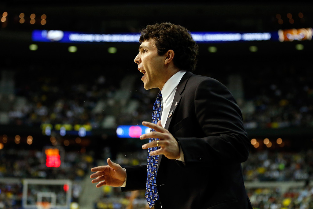 . AUBURN HILLS, MI - MARCH 23:  Head coach Josh Pastner of the Memphis Tigers reacts in the first half against the Michigan State Spartans during the third round of the 2013 NCAA Men\'s Basketball Tournament at The Palace of Auburn Hills on March 23, 2013 in Auburn Hills, Michigan.  (Photo by Gregory Shamus/Getty Images)