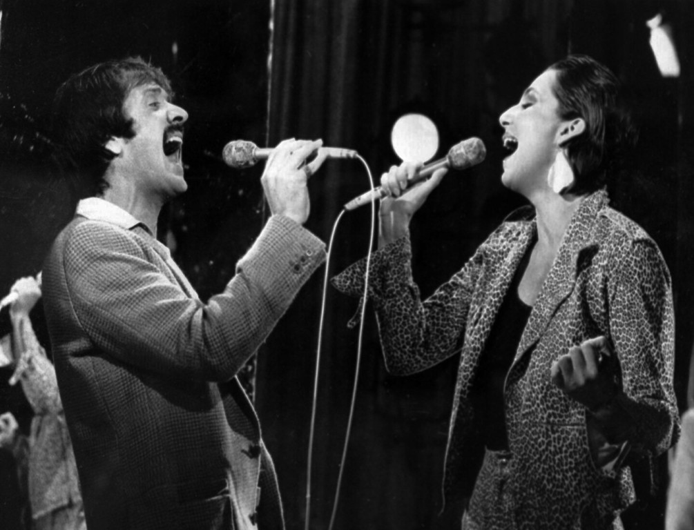 """. Entertainer Sonny Bono, left, sings with his ex-wife, singer Cher Allman, during the taping of \""""The Mike Douglas Show\"""" Monday Jan. 22, 1979 in Los Angeles, Calif. (AP Photo)"""