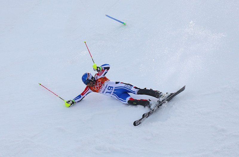 . Thomas Mermillod Blondin of France falls during the Alpine Skiing Men\'s Super Combined Downhill on day 7 of the Sochi 2014 Winter Olympics at Rosa Khutor Alpine Center on February 14, 2014 in Sochi, Russia.  (Photo by Alexander Hassenstein/Getty Images)