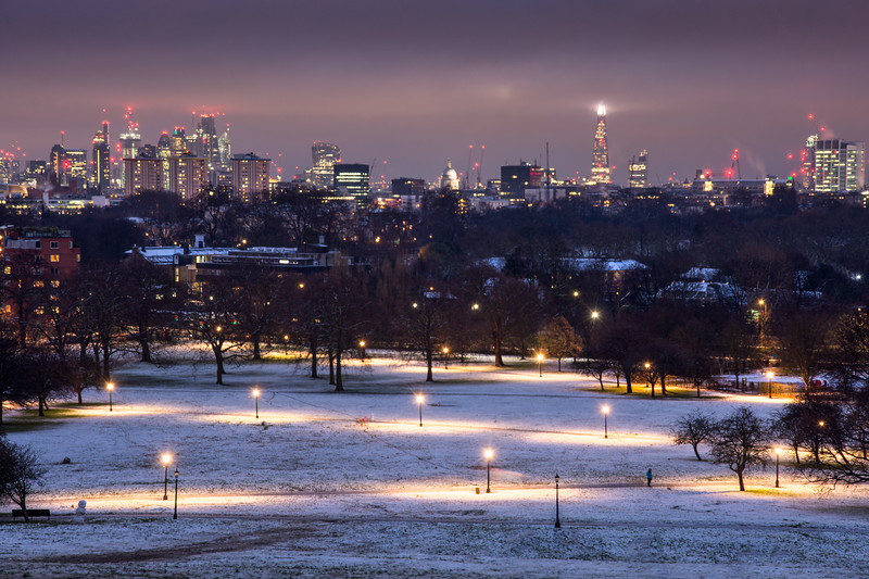 London in the snow from Primrose Hill