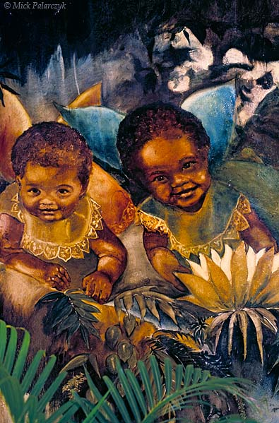 [ANTILLES.SABA 25.505] 'Angelic children.'	 Local children have lent their faces to these angels in the catholic Sacred Heart Church in The Bottom. Fresco by Heleen Cornet. Photo Mick Palarczyk.
