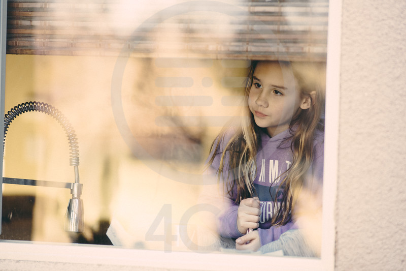 Quincy drawing on window