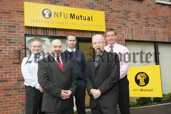 Colm Clarke and Stephen Garvey Sales Assistants, Paul Bennett Agent NFU, Martin Malone Regional Director and Brian Coulter Area Manager NFU. Picture Peter Clarke. 07W34N20