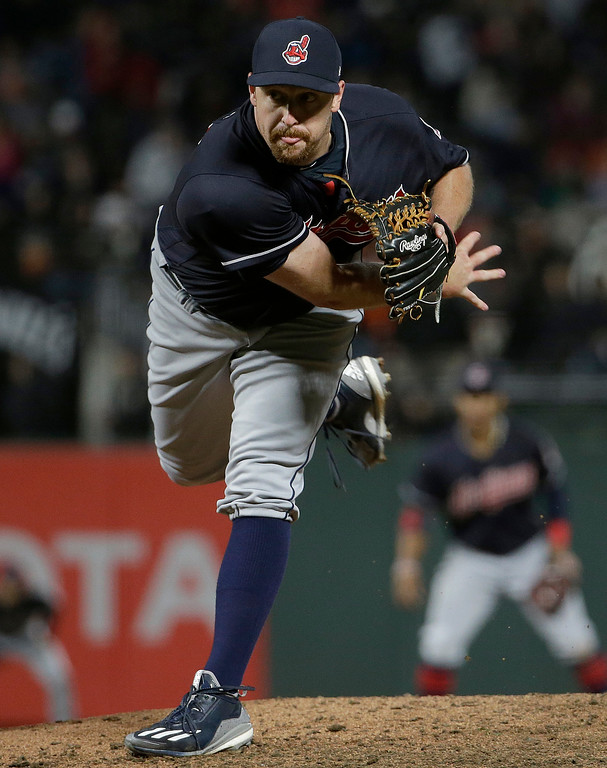 . Cleveland Indians pitcher Bryan Shaw throws during the seventh inning of a baseball game against the San Francisco Giants in San Francisco, Tuesday, July 18, 2017. The Giants won 2-1 in ten innings. (AP Photo/Jeff Chiu)
