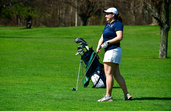 4/23/2019 Mike Orazzi | Staff Lauralton Hall's Cristina Ludwig at the Westwoods Golf Course on Tuesday.