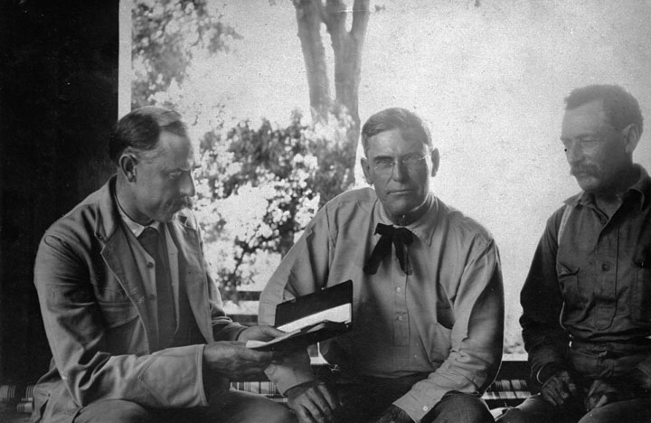 . The three fathers of the LA Aqueduct - left to right: Joseph B. Lippincott, Fred Eaton and William Mulholland. This photograph appeared in the Los Angeles Times on August 6, 1906, less than a week after Lippincott\'s resignation from the Reclamation Service became effective.   (DWP)