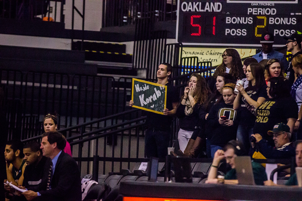 . Oakland University\'s Grizz Gang student section came out to support the team at their preseason exhibition against Tiffin Tuesday, Oct. 29, 2013 at the Athletics Center O\'rena. Photo by Dylan Dulberg