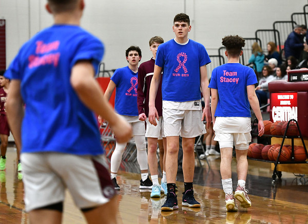 2/27/2020 Mike Orazzi | StaffrBristol Central High School's Donovan Clingan (32) warms up before Thursday night's CCC boys basketball game with New Britain in Bristol.