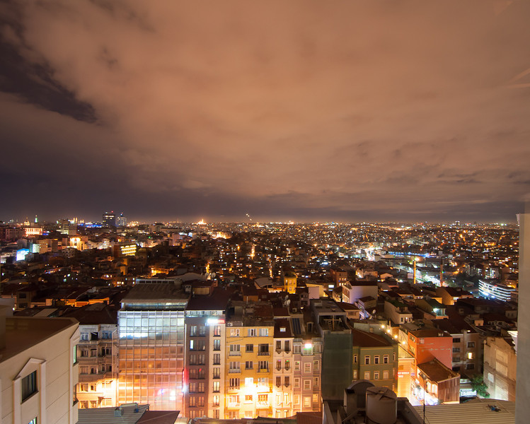 The nighttime sky over Istanbul, Turkey.