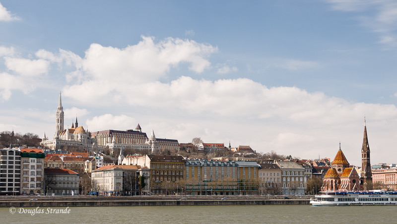 Buda Skyline, Matthias Church in the castle district at the top of the hill, Calvinist Church on the waterfront