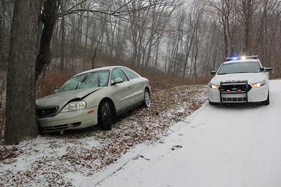 MVA, Car vs Tree, Snow, Bottom of Market Street, Elm Street, Tamaqua (11-26-2013)