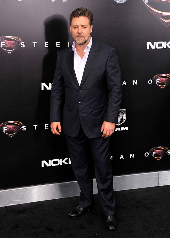 ". Actor Russell Crowe attends the ""Man Of Steel\"" world premiere at Alice Tully Hall at Lincoln Center on June 10, 2013 in New York City.  (Photo by Stephen Lovekin/Getty Images)"