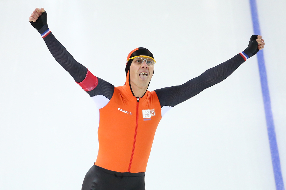 . Stefan Groothuis of the Netherlands celebrates after competing during the Men\'s 1000m Speed Skating event during day 5 of the Sochi 2014 Winter Olympics at at Adler Arena Skating Center on February 12, 2014 in Sochi, Russia.  (Photo by Streeter Lecka/Getty Images)