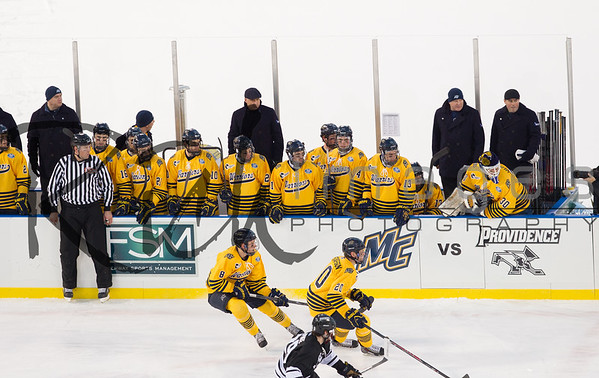 "BOSTON, MA - JANUARY 4: Merrimack College faced Providence College during NCAA hockey action in the ""Citi Frozen Fenway 2014"" at Fenway Park on January 4, 2014 in Boston, Massachusetts. The game ended in a 1-1 tie."