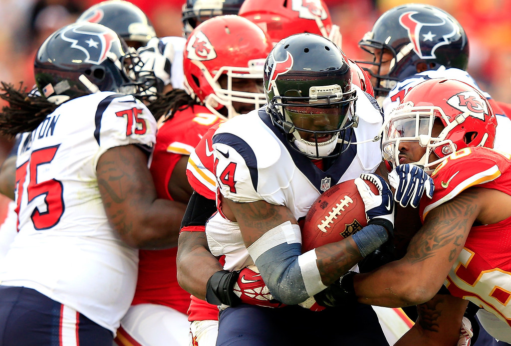 . Ben Tate #44 of the Houston Texans carries the ball during the game against the Kansas City Chiefs at Arrowhead Stadium on October 20, 2013 in Kansas City, Missouri.  (Photo by Jamie Squire/Getty Images)