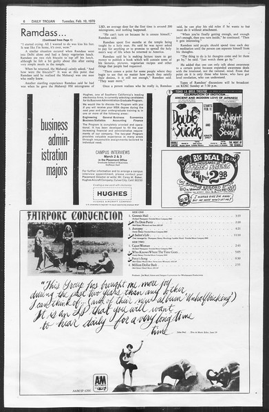 Daily Trojan, Vol. 61, No. 70, February 10, 1970