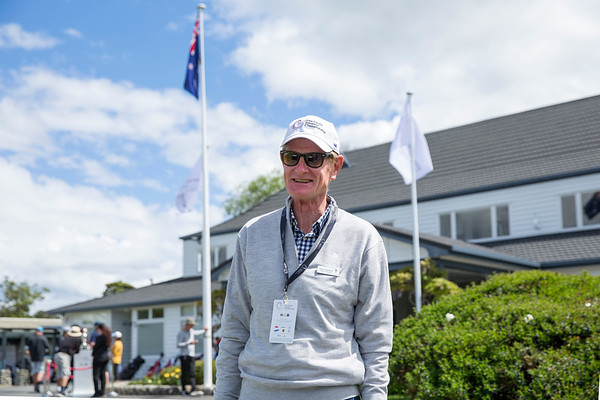 Volunteer Manager Peter Hazledine taking a rare break on the 2nd day of competition  in the Asia-Pacific Amateur Championship tournament 2017 held at Royal Wellington Golf Club, in Heretaunga, Upper Hutt, New Zealand from 26 - 29 October 2017. Copyright John Mathews 2017.   www.megasportmedia.co.nz