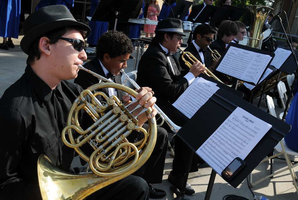 . Thanos Brunson, plays the French Horn during the ceremony.  Chaminade College Preparatory High School, celebrating its 60th anniversary, graduated 337 students at the West Hills campus on Saturday, June 01, 2013.  (Dean Musgrove/Los Angeles Daily News)
