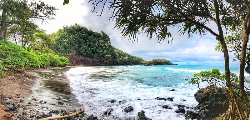 The coast of Maui on the Road to Hana.