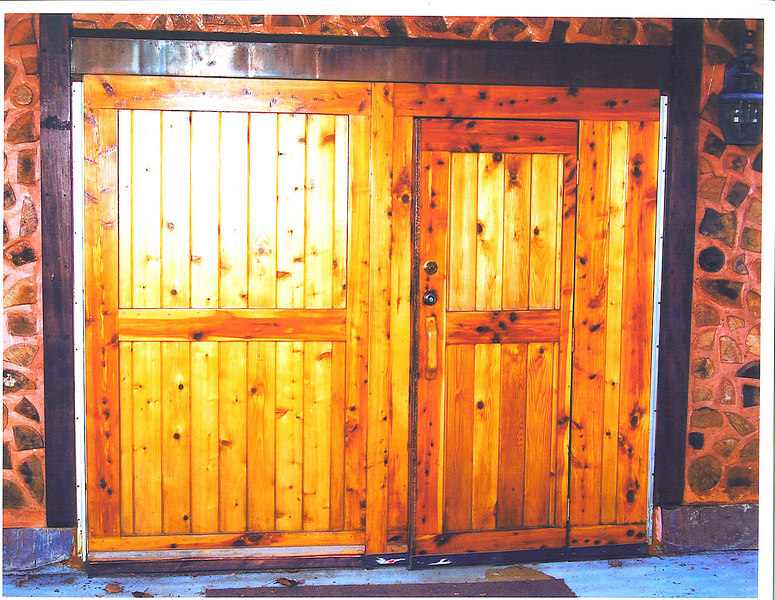 Lower level garage doors.
