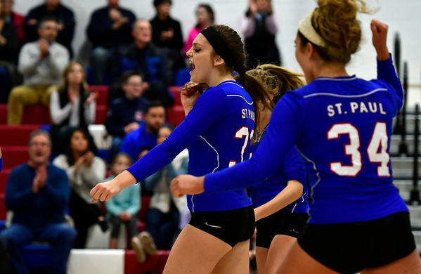 11/7/2018 Mike Orazzi | Staff St. Paul Catholic High School's Kelsi Blatchley (33) celebrates during the Class S Second Round Girls Volleyball Tournament with Immaculate in Bristol Wednesday night.