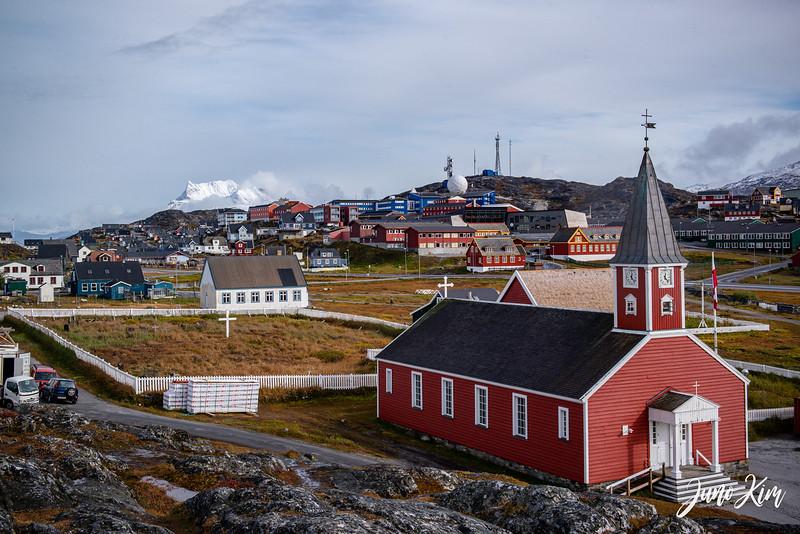 City of Nuuk and Sermitsiaq (mountain) afar