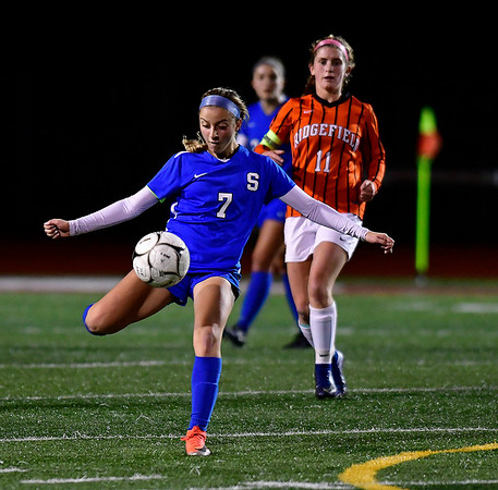 11/19/2019 Mike Orazzi | StaffrSouthington High Schools Emma Panarella (7) against Ridgefield during the Class LL Semifinal Girls Soccer match at Naugatuck High School Tuesday night. r