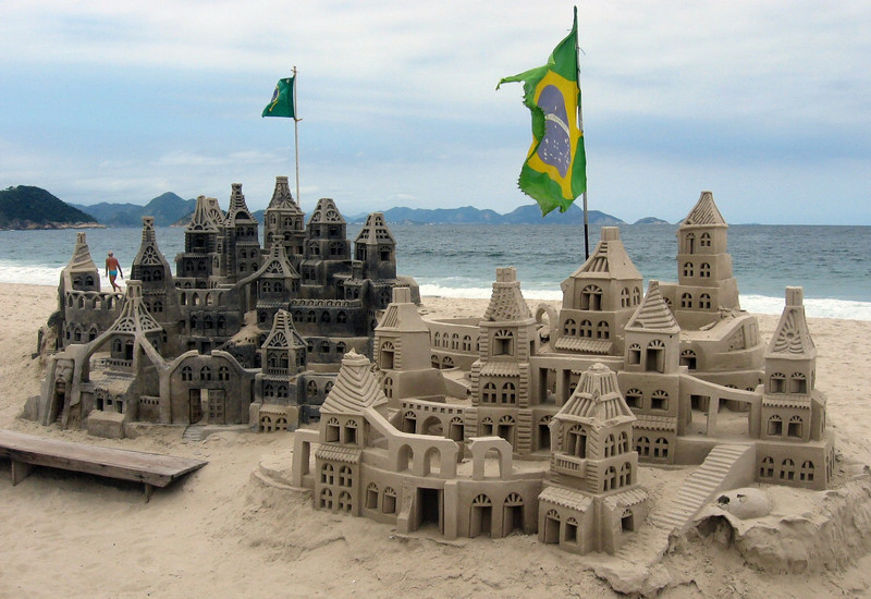 Castles in the sand on Copacabana Beach.