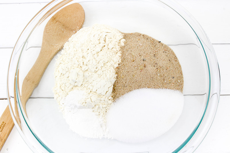 mix ingredients together for beach sand play dough