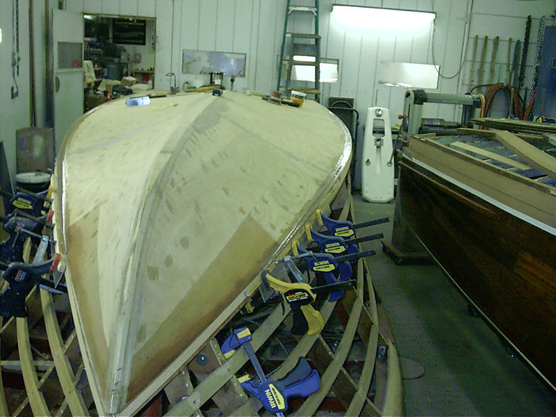 Starboard chine cap faired in with epoxy.