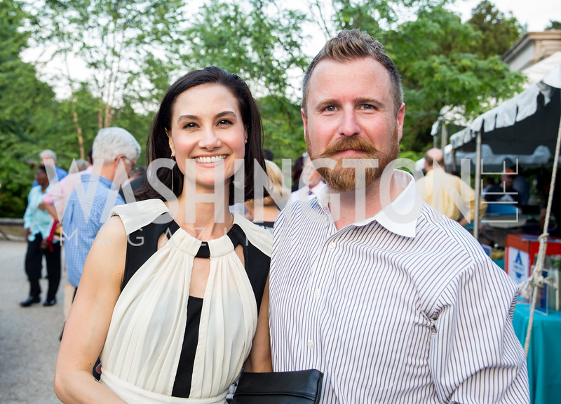 Marie Telfer, Joe Daniel. Photo by Erin Schaff. 2016. Washed Ashore: Art to Save the Sea VIP Reception. Smithsonian National Zoo Elephant Community Center. May 26, 2016.