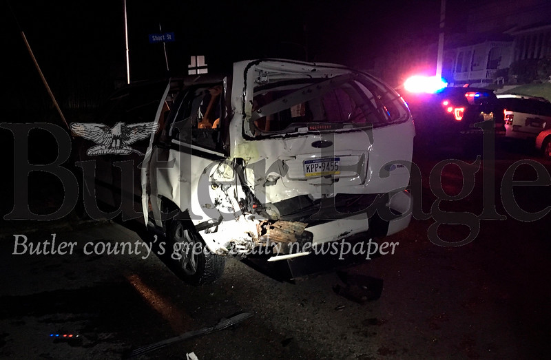 This minivan was one of at least two vehicles hit by a pickup truck on Ziegler Avenue Tuesday night