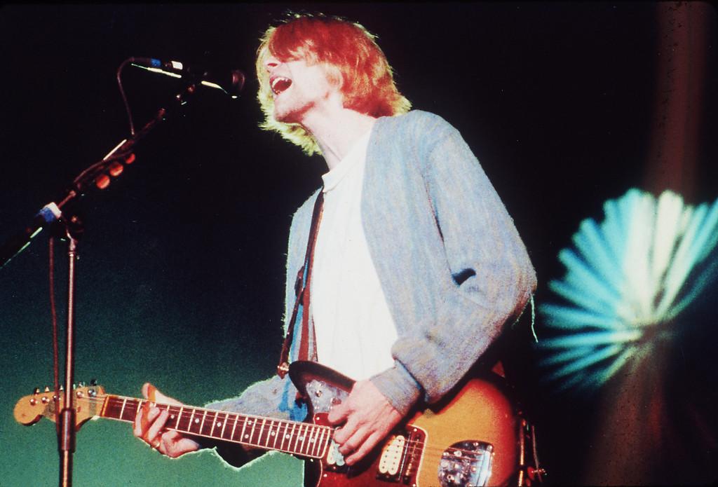 . Kurt Cobain lives on in a  DVD.   (AP Photo/Sam Morris)