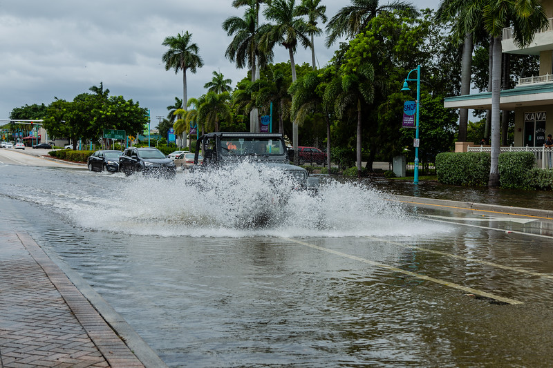 A lifted Jeep Wrangler plows through the flood waters on Ocean Avenue in Boynton Beach, on Tuesday, September 3, 2019. The flooding is a result of rains from Hurricane Dorian and the King Tide. [JOSEPH FORZANO/palmbeachpost.com]
