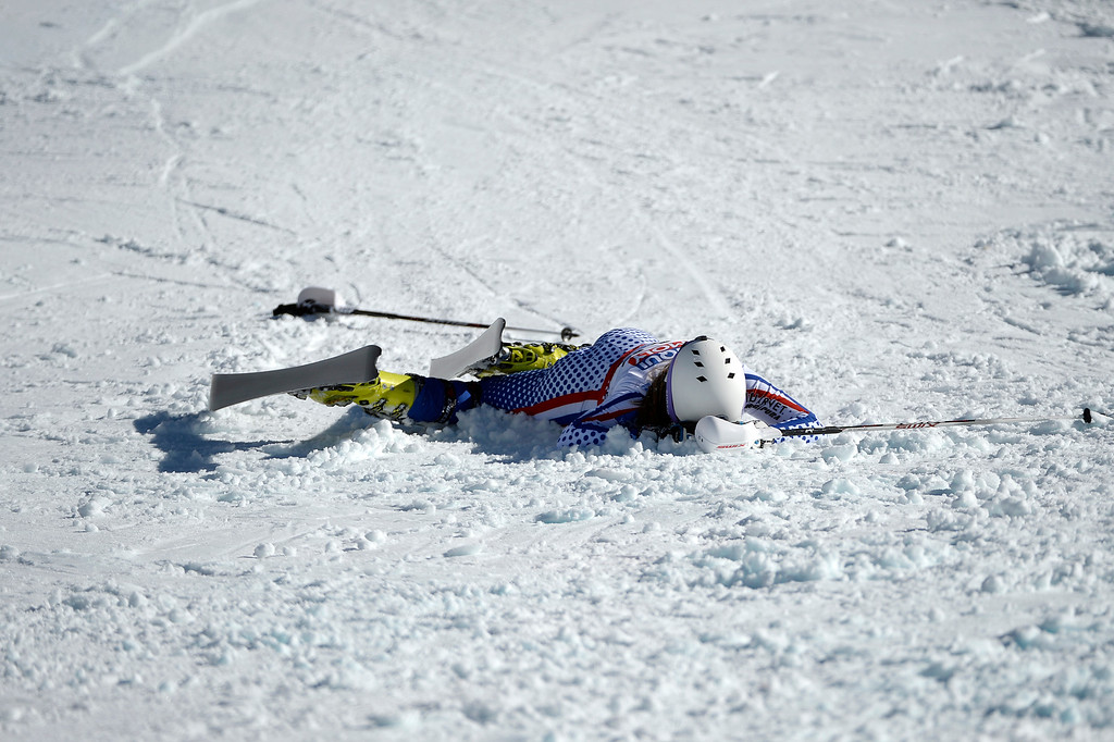 . BEAVER CREEK, CO - FEBRUARY 14: Ksenia Alopina of Russia falls during the ladies\' slalom. FIS Alpine World Ski Championships 2015 on Saturday, February 14, 2015. (Photo by AAron Ontiveroz/The Denver Post)