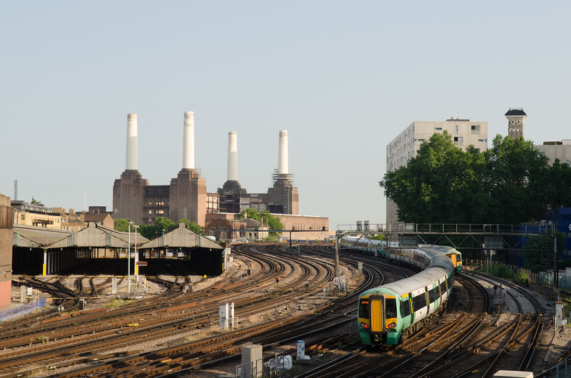 Southern Train approaching London Victoria Station.