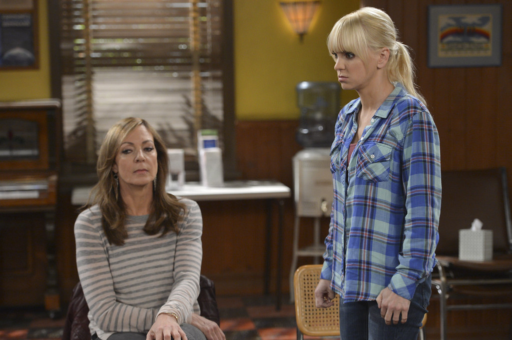 """. In this image released by CBS, Allison Janney, left, and Anna Faris appear in a scene from \""""Mom.\"""" Janney was nominated for a Golden Globe for best supporting actress in a TV movie or mini-series for her role on Thursday, Dec. 11, 2014. The 72nd annual Golden Globe awards will air on NBC on Sunday, Jan. 11. (AP Photo/CBS, Darren Michaels)"""