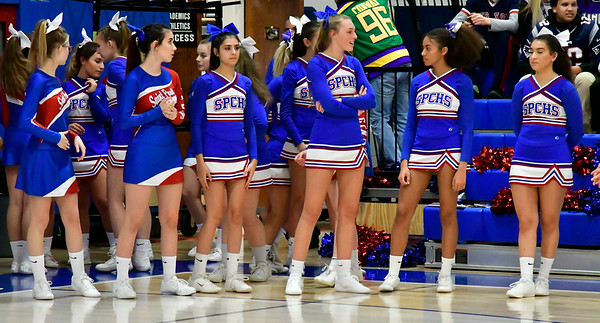 12/20/2018 Mike Orazzi | Staff St. Paul Catholic High School Cheerleaders before the start of Thursday night's boys basketball game with Woodland in Bristol.