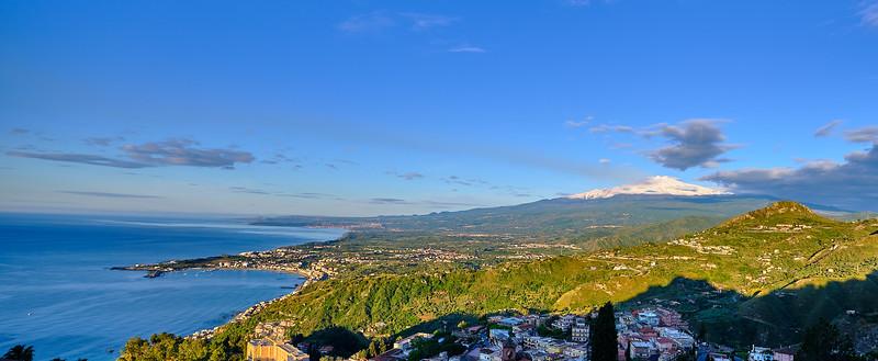 Etna and the Bay of Naxos at dawn.
