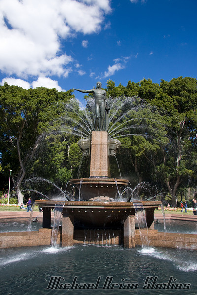 The fountain in front of St. James.