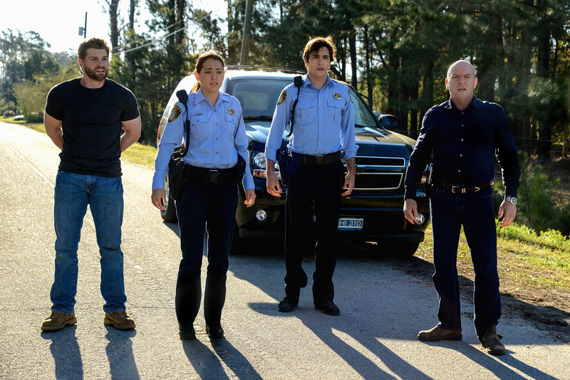 """. The second season premiere of UNDER THE DOME, Monday, June 30 (10:00-11:00 PM, ET/PT) on the CBS Television Network. Pictured (L-R)  Mike Vogel  as Dale \""""�Barbie\""""� Barbara, Natalie Martinez  as Deputy Linda Esquivel, Alexander Koch as Junior Rennie, and Dean Norris as James \""""�Big Jim\"""" � Rennie (Photo: Brownie Harris/CBS)"""